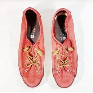 Red Sperry Slip Ons, Size 8